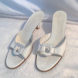 Ferragamo White Leather Open Toe Heels